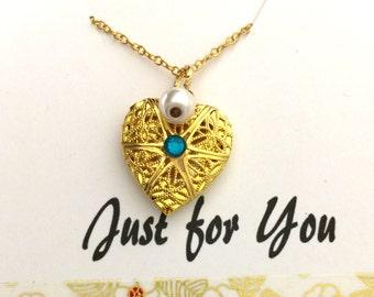 Little Girls Locket, Birthstone Locket, Birthstone Necklace, Heart Locket, Engraved Locket, Personalized Birthstone Locket