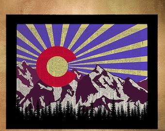 SALE -- Colorado Flag, Dictionary Art Print, Colorado Art, Boulder Denver, Colorado State Flag, Home Decor, Wall Art da327