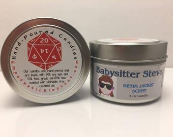 Babysitter Steve Candle - Stranger Things Candle -  Denim Jacket Candle - 4 oz Tin Candle - Fandom Candle - Geek Candle - Harrington Candle