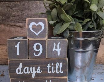 Days Till Mr & Mrs Countdown Blocks-Customizable
