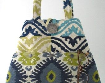 shoulder bag, blue handbag, blue tote bag converts to hobo bag, fabric purse, womens handbag, everyday bag, travel bag