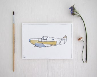 Pastel Plane ~ Aeroplane Gift Card with Watercolour & Ink Illustration