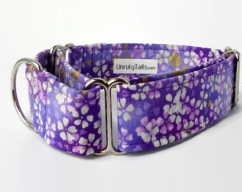 Orchid Asian Flowers Adjustable Dog Collar - Martingale Collar or Side Release Buckle Collar - Tiny purple flowers with glittery gold accent