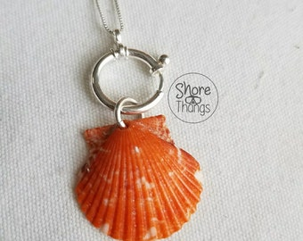 Orange Scallop Sea Charm - Nautical Necklace