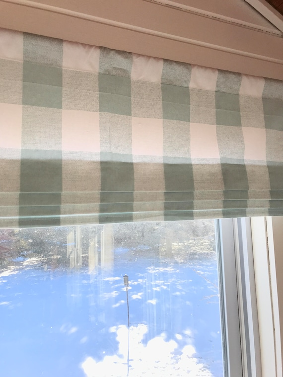Buffalo Check Faux Roman Shade Plaid Valance Modern Home