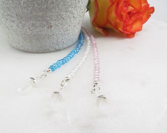 Trio of beaded glasses chains in Pink, Blue and White, Reading Glasses Necklace, Eyeglass Holder, Eye Glass Chain, Beaded Eyeglass Leash