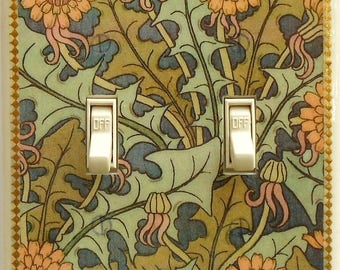 William Morris Marigolds switch plates with MATCHING SCREWS- Art Nouveau wall decor double combo switch plate with outlet green & orange art