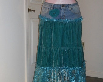 Teal velvet lace jean skirt sea goddess Narissa turquoise ocean blue bohemian mermaid Renaissance Denim Couture Free People