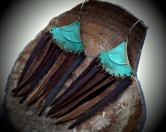 Verdigris Aztec Triangles with Leather Fringe