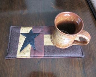 PRIMITIVE - STAR - Applique Quilted Mug Rug PDF E-Pattern