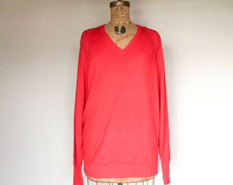 Pure New Zealand Wool Vintage Sweater, Red Wool Pullover, Winter Pullover, V Neck Sweater, Vintage Sweater, Plus Size Sweater, NZ Made