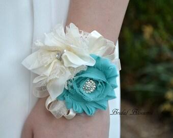 Beautiful Turquoise & Ivory Chiffon Flower Wrist Corsage | Wedding Corsage | Spring Summer Wedding | Mother of the Bride | Pearl Aqua