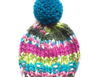 Knit Hat, Pom Pom Hat, Blue and Pink Knit Hat, Blue Pom Pom Hat, Colorful Knit Hat, Knit Beanie, Mommy & Me Hat, Fall Hat, Winter Hat