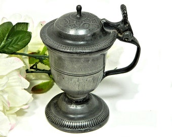 Early 19th Century Antique European Pewter Condiment Spice Mustard Pot