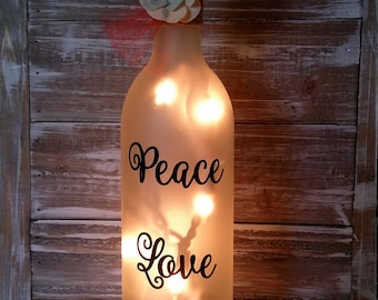 Lighted Wine Bottle/Peace Love Wine Gift/Mother's Day/Kitchen/Birthday/Decoration/Decor/Lamp/hostess/Birthday/Wine Lover