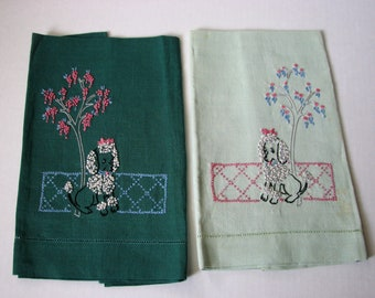 MidCentury Towels Poodles Tip Embroidered Pink and Green Linen