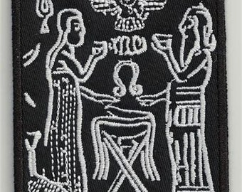 Sumerian tablet, flying disc 2 - embroidered patch, BUY3 GET4, 4 X 3,2 INCH