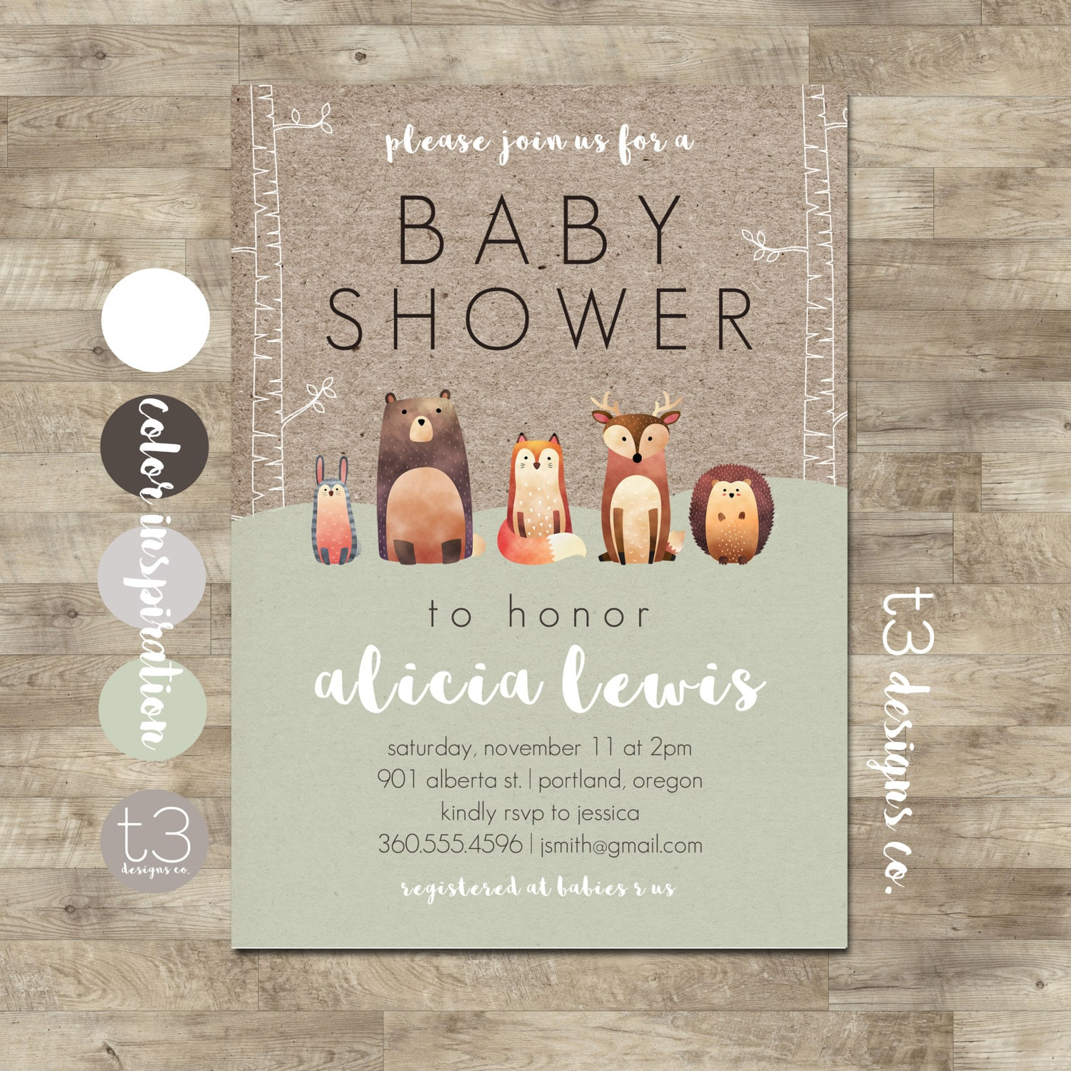 Woodland Baby Shower Invitation, Forest Animals, Gender Neutral Baby ...