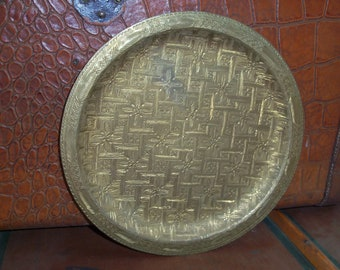 Vintage Handmade Etched Brass Plate Wall Decor