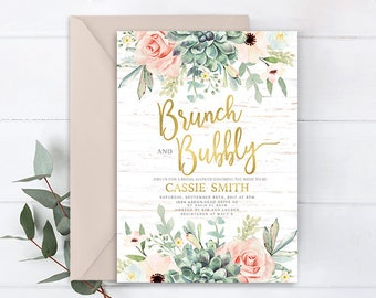 Succulent invitation, floral succulent Brunch & Bubbly Bridal Shower Invitation, rustic bridal shower, boho bridal shower invitation