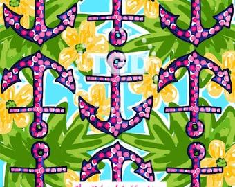 Preppy Navy and Pink Anchors digital paper - Original Art download, polka dot  anchor design, preppy digital paper, nautical digital paper