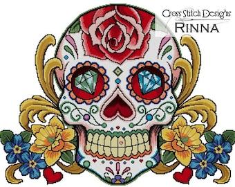 Sugar Skull - Face of Summer -Cross Stitch Pdf Pattern