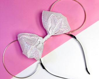 Gold Wire and White Glitter Bow Minnie Mouse Ears Headband