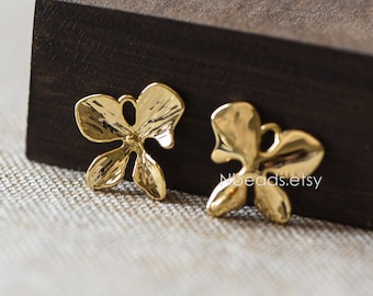 10pcs Gold Flower Charms with 2 Loops, Real Gold plated Brass, Floral Connectors 18mm, Lead Nickel Free (GB-077)
