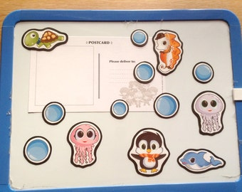 Sea Creature Magnets, penguin magnet, jellyfish magnet, dolphin magnet, turtle magnet, seahorse magnet, animal fridge magnets, anime magnets