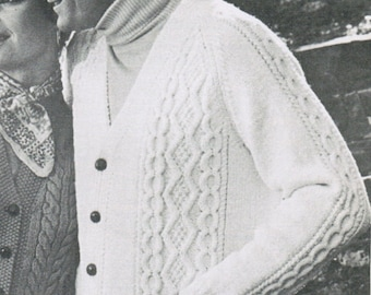 Arran Men's Cardigan Pattern Knitting PDF / Sizes 40 42 44 / Button-up cardigan pattern / fisherman sweater / aran knitted sweater