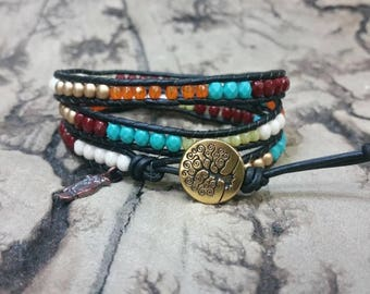 Multi color 3x Adjustable leather wrap