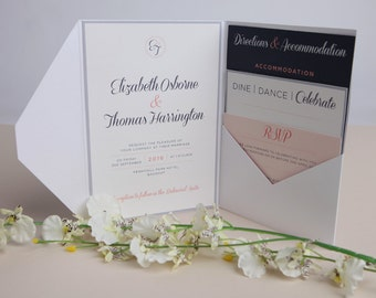 Pink and Navy Wedding Invitations - A5 Silver Pocketfold