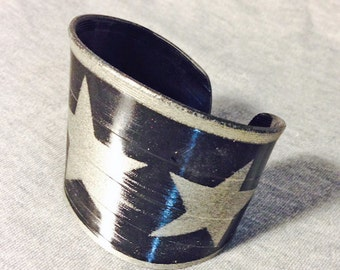 Upcycled Vinyl Record Cuff withTriple Star Design- Champagne (Silver/Gold) Stencil on Black Vinyl