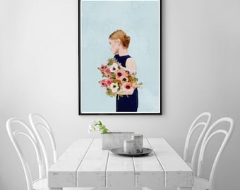 Digital Download Art, Girl With Flowers Digital Print Art, Figurative Art, Instant Download Printable Art, Large Wall Art Modern Art Print