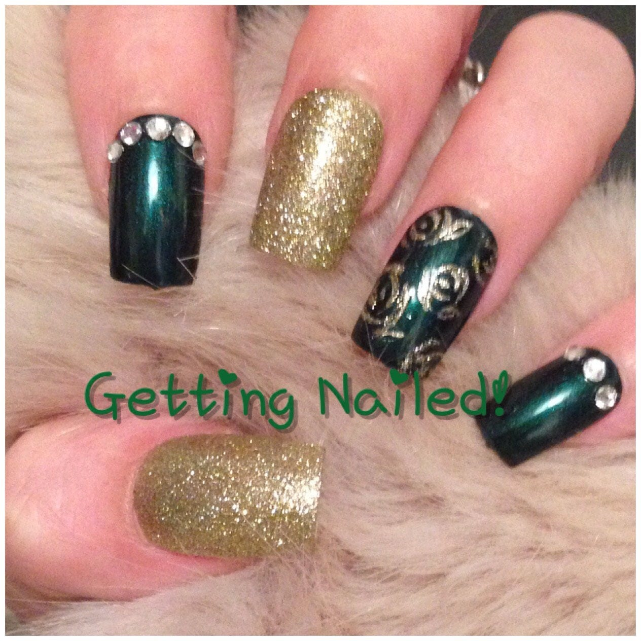 Dark emerald green and gold full false nails with glitter roses ...