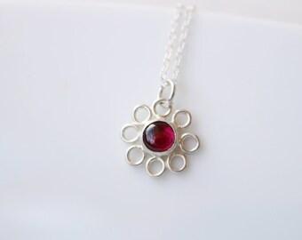 Garnet Gemstone Necklace in Sterling Silver // January Birthstone Necklace // Dainty Red Garnet Necklace // Small Gemstone Flower Necklace