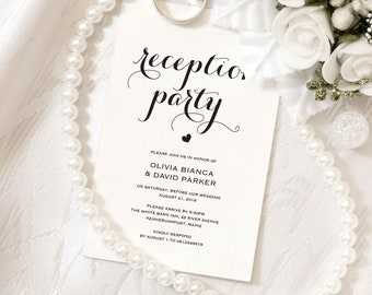 Printable Wedding Reception Invitation Template | Evening Reception Invite | DIY Formal Reception Card | Editable PDF | ecc-05