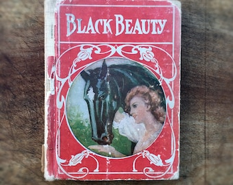 Vintage 1908 Black Beauty Book, Antique Childrens Book, Vintage Books by Anna Sewell, Picture Book, Color Illustrations by Artist John Neill