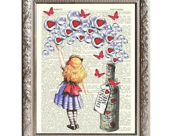 Vintage Art Print Drink Me Alice in Wonderland Original Book Page -D-AIW-09