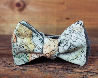Map Bowtie // Gifts for Travelers // World Map Tie // Teacher Gift // Espresso Linen  // Mens Bowtie // Gifts Under 50 // Gift for Him