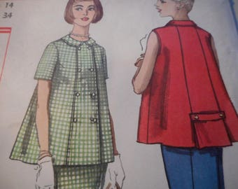 Vintage 1950's Simplicity 2395 Maternity Top and Skirt Sewing Pattern Size 14 Bust 34