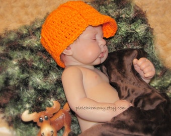 Baby Boy or Girl Military or Hunter HAT - Newborn Photo Prop - Pink Camo - Camo OR Orange - Hunting - Reborn Doll
