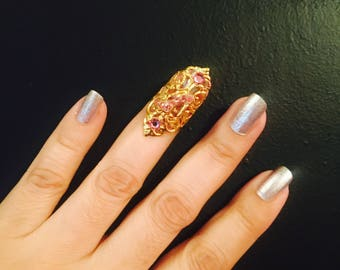 High heel claw ring,nail guard,finger tip,metal finger tip,nail claw,gold color filigree,pink crystals.