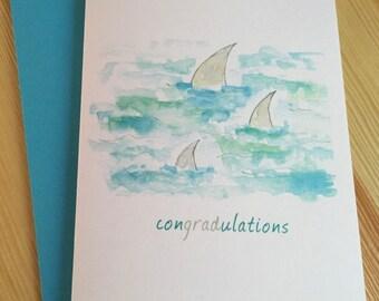 Graduation Card - Congradulations - Shark Graduation Card - Swim with the Sharks Card - Watercolor Graduation Card
