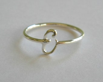 Handcrafted Silver 925 Letter E Ring.