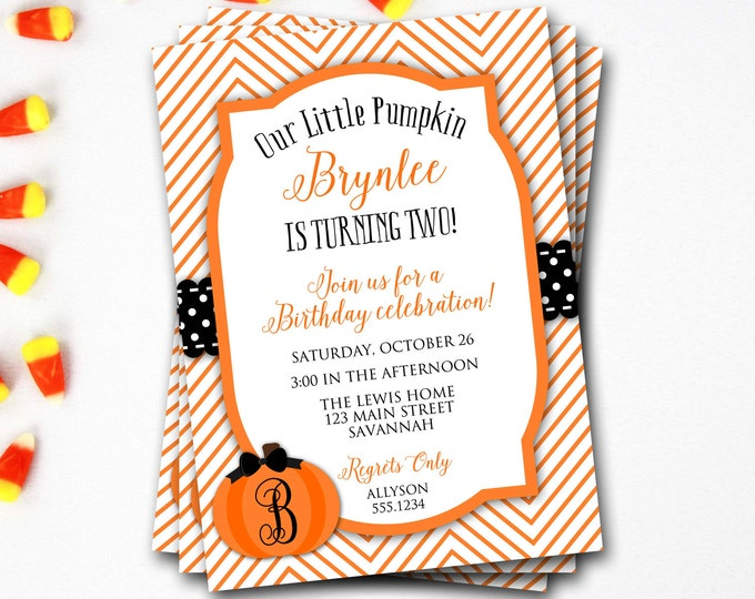 Pumpkin Birthday Invitation, Fall Birthday Invitation, Pumpkin Patch, Pumpkin Invitation, Halloween Invitation, Our Little Pumpkin