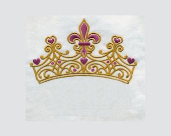 Fleur De Lis and Heart Ornate Crown Embroidery Design - Instant Digital Download