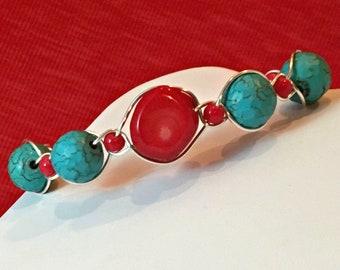 Boho Turquoise Bracelet / Turquoise Bracelet / Chunky Wire Bracelet / Turquoise Silver Bracelet / Bohemian Bracelet / Ashbee's Accessories