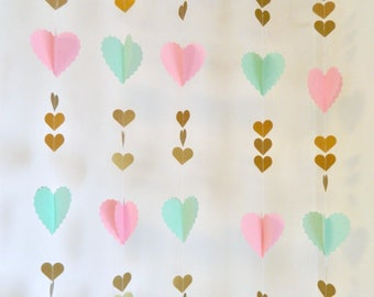 Pink, Gold & Mint Birthday Party decor- Heart Garland - Mint to Be Bridal Shower- Baby Shower - Heart Garland Backdrop- your color choices