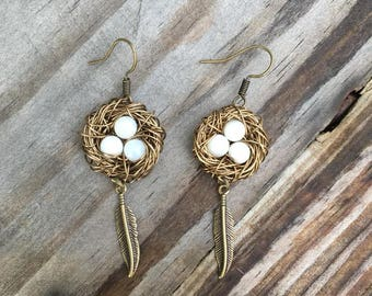 Bird's Nest Earrings - Bronze wire-wrapped with white stones